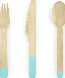 Party Deco Sztućce drewniane, tiffany blue, 16cm, 18 szt. uniwersalny