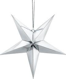 Party Deco Gwiazda papierowa świąteczna, srebrna, 45cm uniwersalny