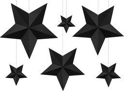 Dekoracja świąteczna - gwiazda papierowa czarna, 6 szt. uniwersalny