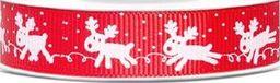 Tasiemka rypsowa świąteczna Rudolf, 10mb uniwersalny