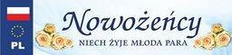 Party Deco Tablica rejestracyjna ślubna, Nowożeńcy, 50x11,5 cm uniwersalny