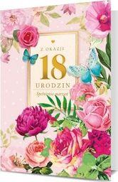 PAN DRAGON Karnet B6 18 Urodziny kwiaty różowe K.B6-1714