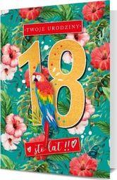 PAN DRAGON Karnet B6 18 Urodziny kwiaty z papugą K.B6-1707