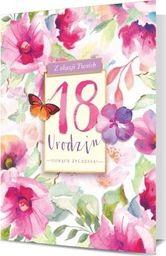 PAN DRAGON Karnet B6 18 Urodziny kwiaty z motylem K.B6-1712