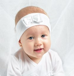 Nanaf Organic Opaska ELEGANCE GIRL z kokardką - biała S