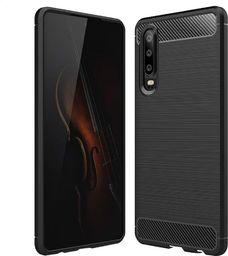 Hurtel Carbon Case elastyczne etui pokrowiec Huawei P30 czarny uniwersalny