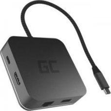 Stacja/replikator Green Cell HUB2 USB-C, 3x USB 3.0 RJ45 1Gbps HDMI 4K, DEX Nintendo Switch Apple