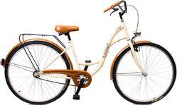 """BikeLand Rower miejski Vintage 28"""" łabędź kremowy - bez koszyka uniwersalny"""