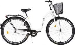 """Burghardt Rower miejski MB Victoria 28"""" City Łabędź 2605 obręcz stożkowa, biały z koszem uniwersalny"""