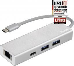 """HUB USB Hama HUB 1:3 USB 3.1 TYP-C  + LAN """"ALUMINIUM"""""""