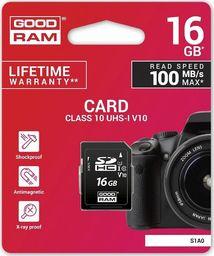 Karta GoodRam SDHC 16 GB Class 10 UHS-I/U1 V10 (S1A0-0160R12)
