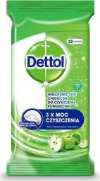 Dettol Dettol Wielofunkcyjne chusteczki do czyszczenia powierzchni Zielone Jabłuszko 32szt