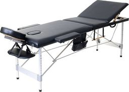 PROFIBED Łóżko do masażu 3 segmentowe aluminiowe o szerokości 70 cm, czarne universal