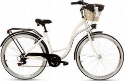 Goetze Rower miejski Mood czarno-biały 28 + kosz wiklina biała wkład