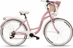 Goetze Rower miejski Mood różowy 28 + kosz wiklina z wkładem