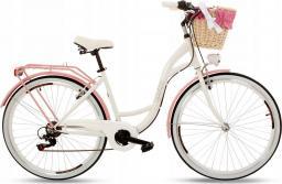 Goetze Rower miejski Mood biało-różowy 28 + kosz wiklina biała z wkładem