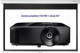 """Projektor Optoma HD28e + ekran 92"""" DS-9092PWC Lampowy 1920 x 1080px 3800lm DLP"""
