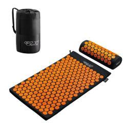 4fizjo Mata do akupresury z kolcami + poduszka (czarno-pomarańczowa)