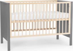 KinderKraft Łóżeczko drewniane MIA barierka + materac grey