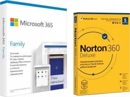 Microsoft 365 Family PL (6GQ-01161) + Norton 360 Deluxe 5 urządzeń 12 miesięcy (21408667)