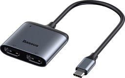 Stacja/replikator Baseus Baseus Enjoy adapter HUB przejściówka ze złącza USB-C na 2x HDMI + USB-C PD szary (CAHUB-I0G) uniwersalny