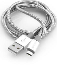 Kabel USB Verbatim USB A M- USB A M micro, 0.3m, reversible, srebrny, Verbatim, box, 48865