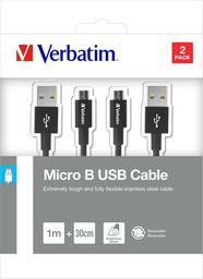 Kabel USB Verbatim USB A M- USB micro M, 1m, czarny, Verbatim, box, 48875, 2szt, 1x100cm + 1x30cm