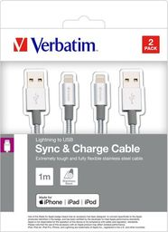 Kabel USB Verbatim USB A M- Apple Lightning M, 1m, srebrny, Verbatim, box, 48872, 2szt