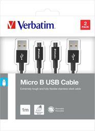 Kabel USB Verbatim USB A  M reversible- USB micro M reversible, 1m, czarny, Verbatim, box, 48874, 2szt, 2x100cm