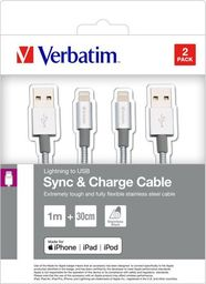 Kabel USB Verbatim USB A M- Apple Lightning M, 1m, srebrny, Verbatim, box, 48873, 2szt, 1x100cm + 1x30cm