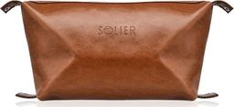 Solier Elegancka skórzana kosmetyczka męska SOLIER brązowa