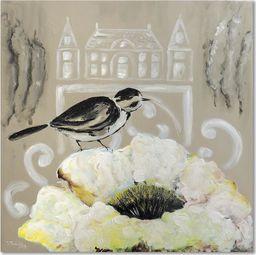 Feeby Obraz na płótnie - Canvas, Biały kwiat i czarny ptak 20x20