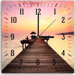 Feeby Obraz z zegarem, pomost o zachodzie słońca 6 30x30