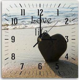 Feeby Obraz z zegarem, serce na plaży 30x30