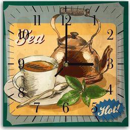 Feeby Obraz z zegarem, hot tea 30x30