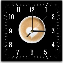 Feeby Obraz z zegarem, kawa z sercem 30x30