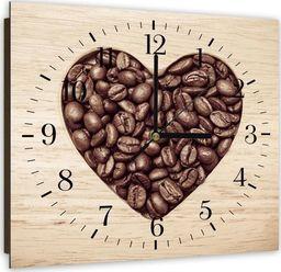 Feeby Obraz z zegarem, serce z ziaren kawy 30x30