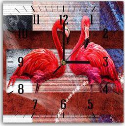 Feeby Obraz z zegarem, para flamingów 2 30x30