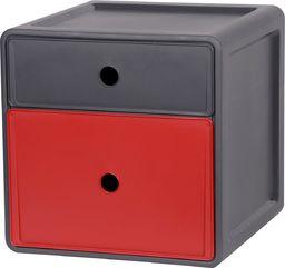 EDA Szafka 2 szuflady czerwień antracyt uniwersalny