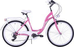 """Kozbike Rower miejski 26"""" Kozbike różowo-biały 7 biegów uniwersalny"""