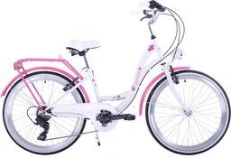 Kozbike Rower Kozbike Junior 24 biało-różowy 7 bieg uniwersalny