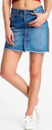 Sublevel Spódnica mini jeansowa z lampasami Sublevel S