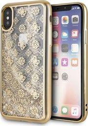 Guess Guess GUHCPXPEOLGGO iPhone X/Xs złoty /gold hard case 4G Peony Liquid Glitter uniwersalny