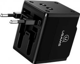 Ładowarka Usams 2xUSB T2 Adapter 4w1 US/AU/EU/UK czarny CC44TC01