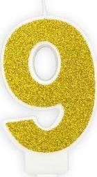 Świeczka urodzinowa, cyferka 9, złota brokatowa, 7 cm. uniwersalny