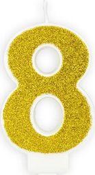Świeczka urodzinowa, cyferka 8, złota brokatowa, 7 cm. uniwersalny