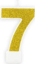 Świeczka urodzinowa, cyferka 7, złota brokatowa, 7 cm. uniwersalny