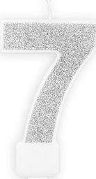 Świeczka urodzinowa, cyferka 7, srebrna brokatowa, 7 cm. uniwersalny