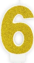 Świeczka urodzinowa, cyferka 6, złota brokatowa, 7 cm. uniwersalny