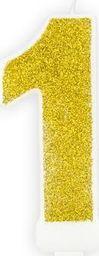 Świeczka urodzinowa, cyferka 1, złota brokatowa, 7 cm. uniwersalny